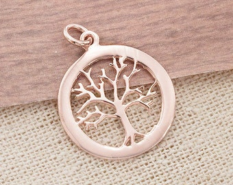 1 of 925 Sterling Silver Rose Gold Vermeil Style Tree of Life Pendant 18 mm. :pg0141