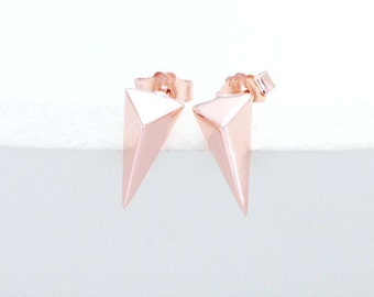 1 Pair of 925 Sterling Silver Rose Gold Vermeil Style Triangle Stud Earrings 5x10mm.  :pg0088