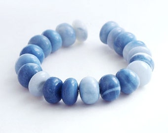 19 Natural Blue Opal Smooth Plain Rondelle Beads 8-9 mm. :gs8169