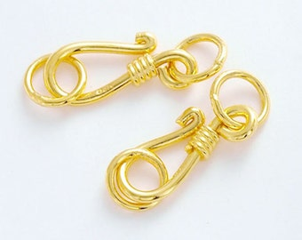 4 of 925 Sterling Silver 24k Gold  Vermeil Style Clasps 14.5 mm.  :vm0034
