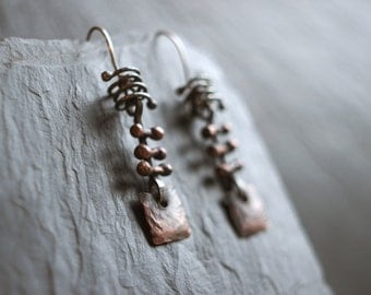 Squared Earth - Copper and silver earrings