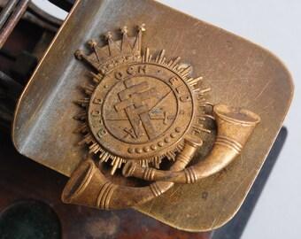 Vintage brass label plate, mark, Coffe,  Fralsningsarmens kaffe – blod och eld