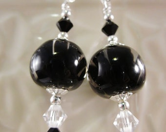 Sterling Silver Earrings - Black Blossom - Artisan Lampwork Glass, Unique, One of a Kind, Black and Clear, SRAJD, OOAK