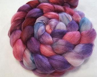 Alpaca/Merino/Tussah Silk Roving-50/30/20-Hand Dyed/Painted - 4 oz - Vermillion Red, Purple and Gun Metal Grey