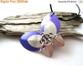 SPRING SALE Purple and Silver Scale Maille Butterfly Necklace