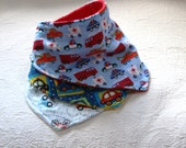 Boy Bandana Bibs Set of 3 with Fun Car and Emergency Vechicles Flannel Prints with a Terry Cloth Lining for a Teething Baby Boy Drooler