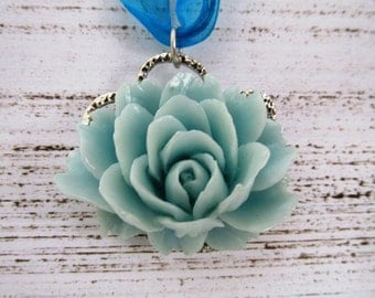 Blue Lotus Pendant Necklace with Light Blue Flower and Blue Organza Ribbon