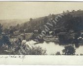 Chenango Forks NY Real Photo Sepia Postcard, Town Hamlet Village View, Antique New York Rppc Ephemera c1915, FREE SHIPPING