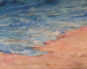 """Sea and Sand Original semi-abstract painting on canvas 24""""x18""""x1.5"""""""