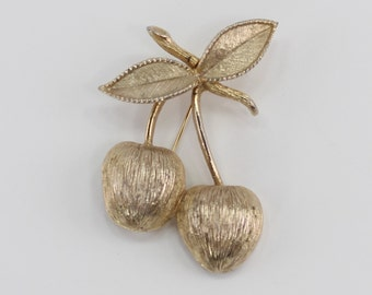 Vintage Late 50s Signed Sarah Coventry Golden Cherries Goldtone Brushed Texture Cherry Fruit Retro Mid Century Gold Tone Brooch Pin