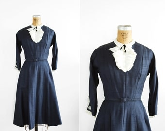 SALE / 1950s Dress - 50s Dress - Navy Blue Dress