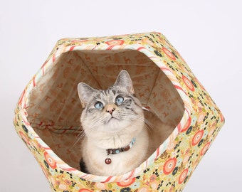 Modern Cat Bed made of Cotton Fabric and Foam - the Cat Ball Hexagonal Cat Bed with Two Openings - Woodlands Flower Cat Bed - Neko Chigura