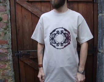 Sand hand printed t-shirt featuring round skeleton and barbed wire motif - grunge tshirt - screen printed tee - barbed wire apparel