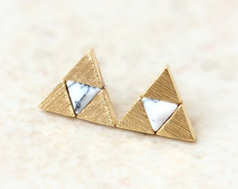 Tri Force Earrings with howlite / gold, silver, white howlite