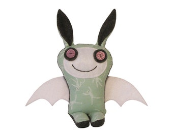 Stuffed Bunny Bat, Monster Bunny Plush, Toy Bunny Bat, Stuffed Toy Monster, Unique Doll, Stuffed Fabric Toy, Happy Monster Doll Clair