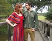 60's  Vintage Striped Crochet Hippie Boho Maxi Dress sm/med.