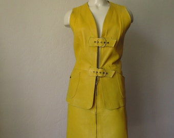 60s Vintage Yellow  Leather Dress Vest MOD med.