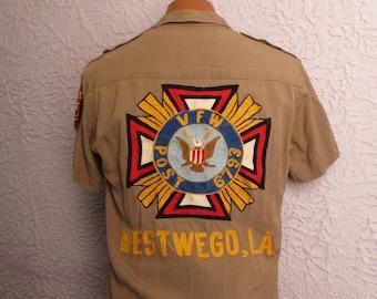 reserved 50s Vintage Men's Gabardine Embroidered VFW Shirt sm/med
