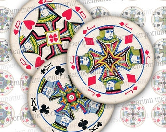 Playing Cards Round Paper Digital Clipart One 1 Inch Circles Games Cards for DIY Jewelry Pendants Earrings Cufflinks Buttons Magnets 730