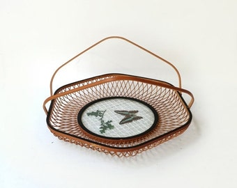 ON SALE Vintage mid century Japanese hexagonal bamboo and rice paper butterfly serving appetiser or drinks tray