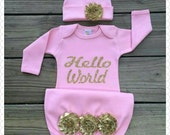 """Pink and gold"""" Hello World"""" Newborn Baby girl gown, pink and gold newborn girl take home outfit, baby girl gown hospital gown~"""