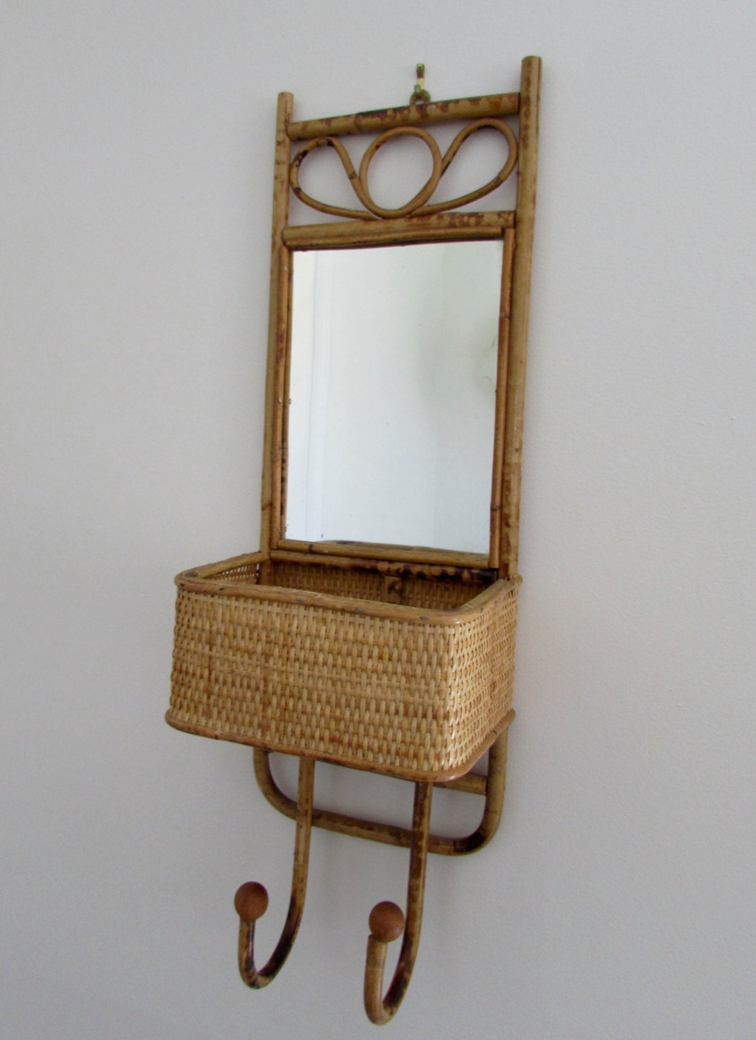 bamboo rattan wall shelf with mirror by magpiesfancyshop. Black Bedroom Furniture Sets. Home Design Ideas