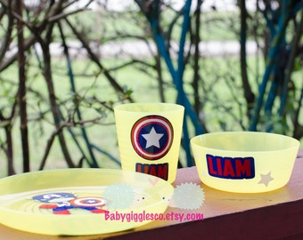 Personalized Kids Plate set - captain america