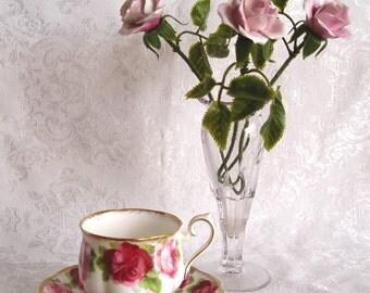 Vintage Royal Albert Old English Rose Bone China Cup & Saucer BONUS: Porcelain Roses And Vase!