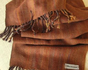 Coffee Brown Handwoven Alpaca, Silk and Bamboo Scarf