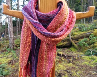 Summer Sunset Orange, Pink and Purple Handwoven Scarf