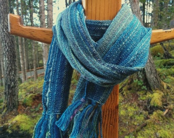 Night Sky Blue Handwoven Scarf