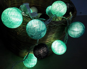 Turquoise Blue cotton ball string lights for Patio,Wedding,Party and Decoration