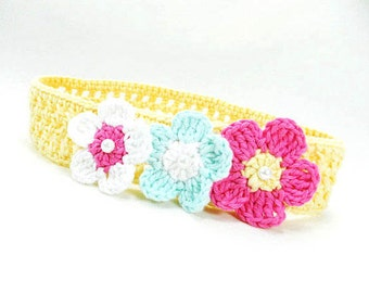 Crocheted baby headband, cotton baby headband, yellow baby headband, baby accessories, baby girl gift, READY TO SHIP