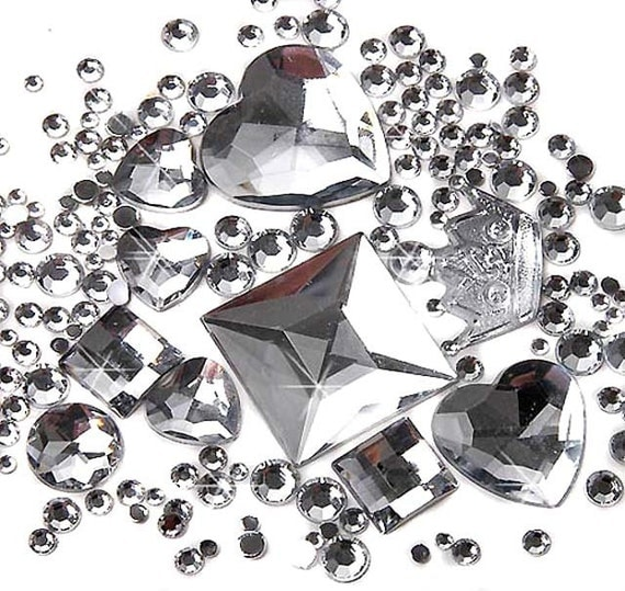 500 pcs Mix Shaped Faceted Silver-white Crown Heart Rhinestone/Gems Sets (2mm~5mm) FD03
