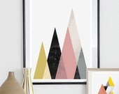 Geometric art, Boho decor, Abstract poster, minimalist print, mountains art, scandinavian print, wall decor, pastel colors,  nordic chic