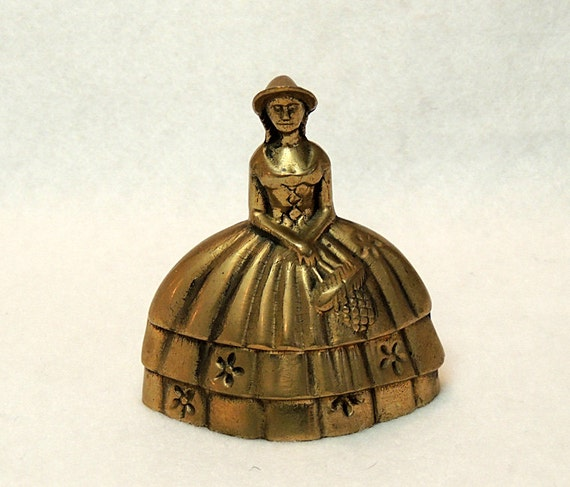 Vintage Brass Crinoline Lady Bell... Cottage Chic