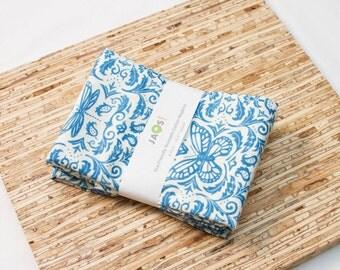Large Cloth Napkins - Set of 4 - (N1431) - Blue Damask Modern Reusable Fabric Napkins