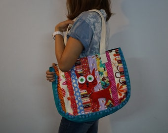 Cat Pom Pom Bag, Fabric Summer Bag, Meow Embroidered patchwork handbags, Cat tote bag, School bag, Bohemian bag