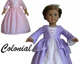 Colonial  Evening Dress, Day Dress, Pinner Cap & Dust  Bonnet Patterns for 18 inch or AG Doll - INSTANT DOWNLOAD