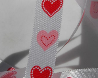 White with Pink and Red Hearts Valentine Ribbon 3 Yards