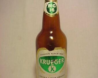1953 Krueger Extra Light Cream Ale Newark, NJ., Amber Glass Beer Bottle with Paper Labels