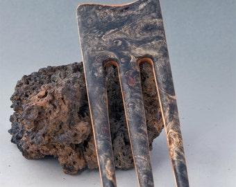 BUCKEYE BURL & BIRDSEYE Maple Hair Fork - 3 Prong hair fork