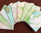 Recycled Upcycled Some Vintage Map Small Notebooks Set of 9 books 20 pages each japan tokyo and topo of other locations Lot#11