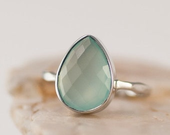 SALE - Aqua Blue Chalcedony Ring Silver - Stackable Ring - Sea Foam Green Ring - Tear Drop Ring - Solitaire Ring
