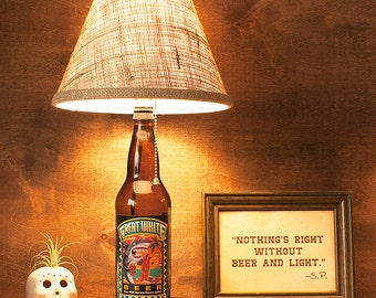 Craft Beer Lamp Bottle Great White Lost Coast Brewing 22oz. Free US Shipping