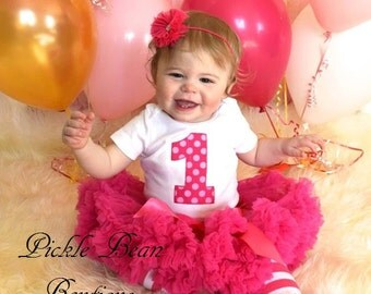 Hot Pink Candy Polka Dot, Baby Girl 1st Birthday Outfit, Bodysuit Pettiskirt Leg Warmers Flower, Girl First Birthday Outfit