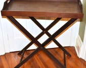 Vintage Tall Wood Butlers Tray Table Bar