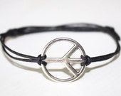 Peace Bracelet or Anklet in Silver, Peace Sign Bracelet, Peace Jewelry, BFF Gift, Friendship Gift, Silver Bracelet, Unisex Jewelry