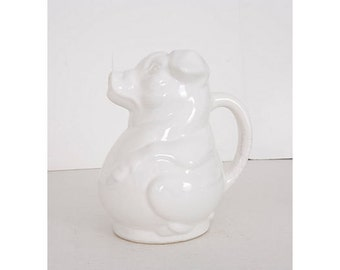 Vintage White Ceramic Jug Pig Milk Pitcher