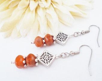Dark Orange Earrings, Bohemian Earrings, Clip On Earrings, Boho Earrings, Birthday Gift for Her Glass Drop Earrings, Rustic Gypsy Earrings